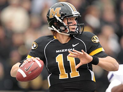 Former Missouri quarterback Blaine Gabbert is considered by some as this year´s top quarterback prospect. (Jeff Roberson/AP Photo)