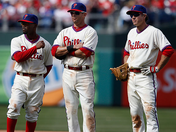 Jimmy Rollins (left), Michael Young (center) and Chase Utley (right). (David Maialetti/Staff Photographer)