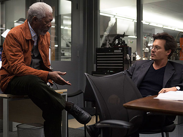 "The system is crashing: Morgan Freeman and Johnny Depp (right) in ""Transcendence,"" a thriller about the dangers of artificial intelligence."
