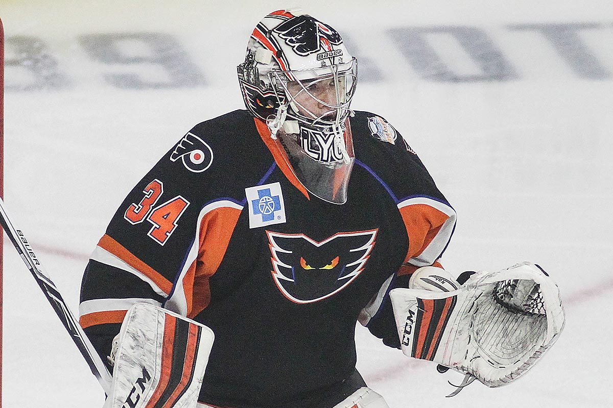 Phantoms goalie Alex Lyon.