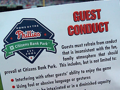 The Phillies have taken to handing out copies of their guest conduct policy at Citizens Bank Park recently. (Bob McGovern / Philly.com)