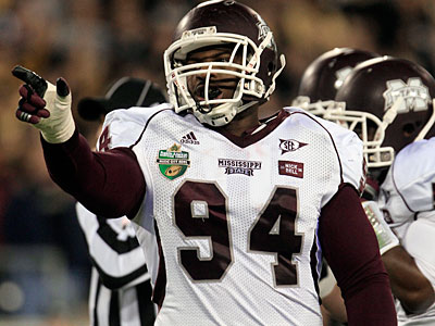Mississippi State DT Fletcher Cox could be an option for the Eagles in the first round. (AP Photo / Mark Humphrey)