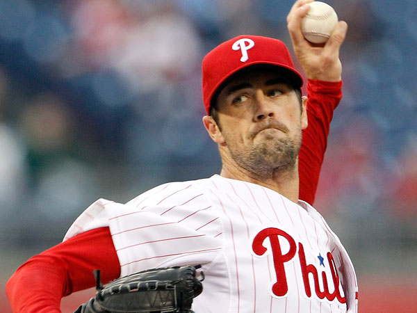 Cole Hamels throws the baseball during the first inning against the St. Louis Cardinals on Thursday, April 18, 2013. (Yong Kim/Staff Photographer)