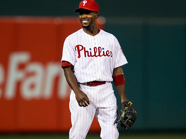 Philadelphia Phillies´ Jimmy Rollins during a baseball game with the New York Mets, Wednesday, April 10, 2013, in Philadelphia. (AP Photo/Tom Mihalek)