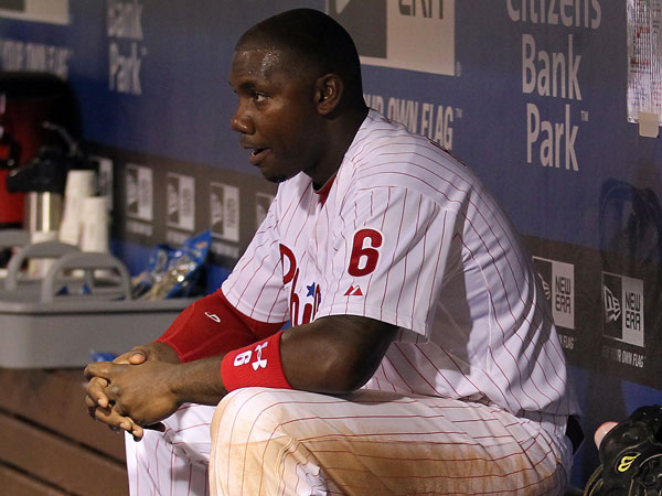 Ryan Howard sits in the dugout after getting replaced for pinch runner in the eighth inning against the St. Louis Cardinals on Thursday, April 18, 2013. (Yong Kim/Staff Photographer)