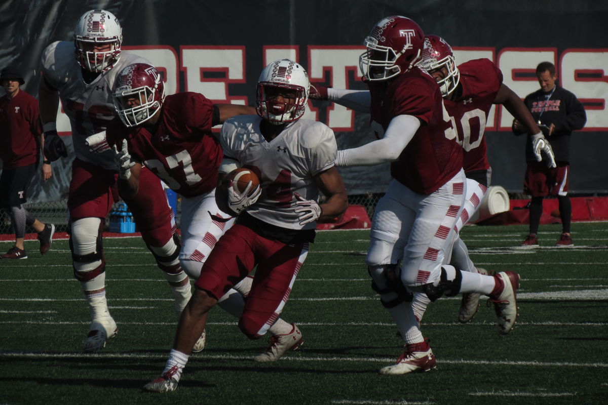 Temple running back Tyliek Raynor broke a long run for a touchdown during the Owls´ spring practice on Tuesday, April 18, 2017. Raynor, a redshirt freshman, played at Philadelphia's Imhotep Charter.
