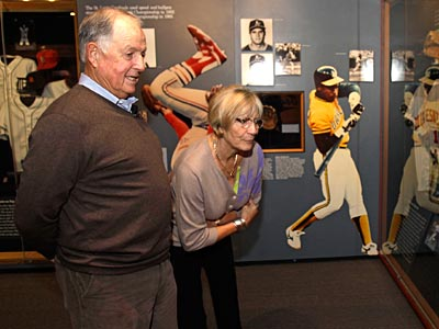 Pat Gillick and his wife Doris look at an exhibit during his orientation visit at the Baseball Hall of Fame. (Mike Groll/AP Photo)