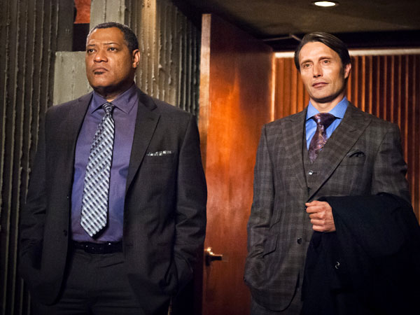 "This undated publicity photo released by NBC shows Laurence Fishburne, left, as Jack Crawford and Mads Mikkelsen as Dr. Hannibal Lecter in episode 105, ´Potage,"" from the TV series, ""Hannibal."" NBC says it´s pulling an episode of its serial killer drama ""Hannibal"" out of sensitivity to recent violence, including the Boston bombings. NBC said Friday, Friday, April 19, 2013, that the episode, which was to air next week, features a character who brainwashes children to kill other children. (AP Photo/NBC, Brooke Palmer)"