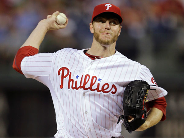 Roy Halladay in action during a baseball game against the St. Louis Cardinals, Friday, April 19, 2013, in Philadelphia. (Matt Slocum/AP)