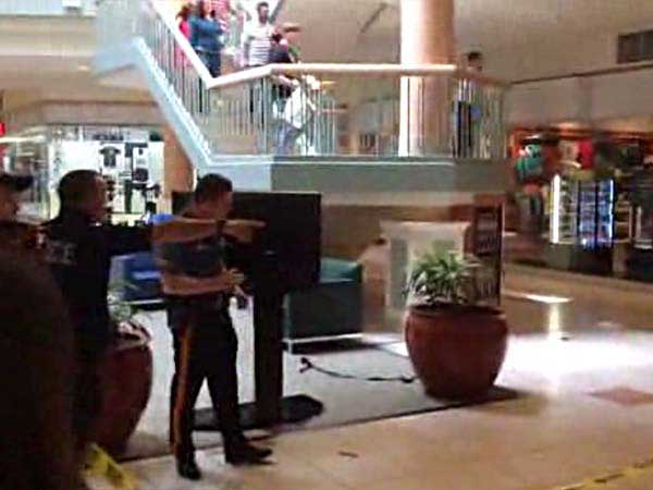 A screengrab of the attached video shows officers responding to a stabbing at Hamilton Mall.