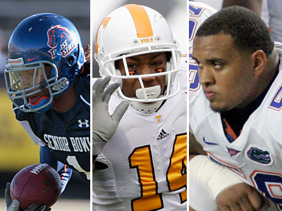 Could the Eagles target one of these prospects? From left to right: CB Kyle Wilson, S Eric Berry, OL Maurkice Pouncey. (AP Photos)