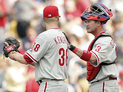 Catcher Brian Schneider tries to calm down pitcher Kyle Kendrick during Kendrick&acute;s first start this season. (Yong Kim / Staff Photographer)<br />