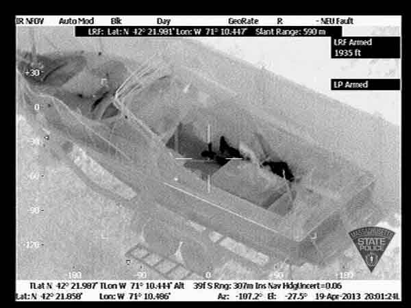 Infrared image released by the Massachusetts State Police Air Wing appears to show Boston Marathon bombing suspect Dzhokhar Tsarnaev on Friday, April 19, hiding in a Watertown, Mass., resident´s boat in the resident´s backyard.