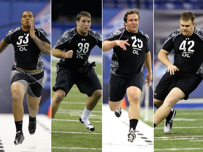 Offensive line prospects from left to right: Maurkice Pouncey, Matt Tennant, Ted Larson, and J.D. Walton. (AP Photos)
