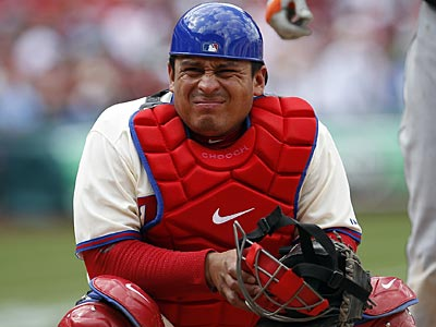 Carlos Ruiz will not play Saturday night against the Padres because of a sore wrist. (David Maialetti/Staff Photographer)