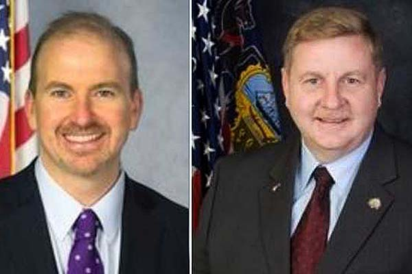 State Rep. Matthew Bradford (left), a Montgomery County Democrat, opposes a bill from state Rep. Rick Saccone, an Allegheny County Republican, to alter the state Election Code to allow voters from any county to serve as poll watchers anywhere in the state.