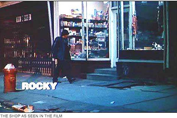 "Shot of the storefront in the movie ""Rocky."""