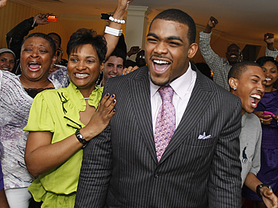 Brandon Graham, a DE from Michigan, was drafted by the Eagles in the first round of the NFL draft. (Kirthmon F. Dozier / Detroit Free Press)