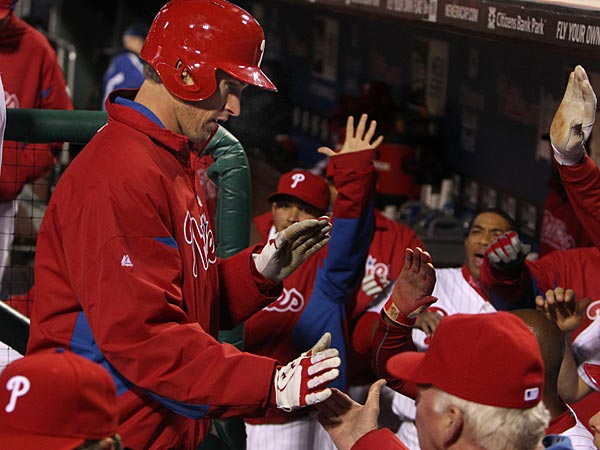 Phillies pitcher Jonathan Pettibone gets congratulations from Charlie Manuel after scoring on a wild pitch in the third inning at Citizens Bank Park on Monday, April 22, 2013.  (Ron Cortes/Staff Photographer)