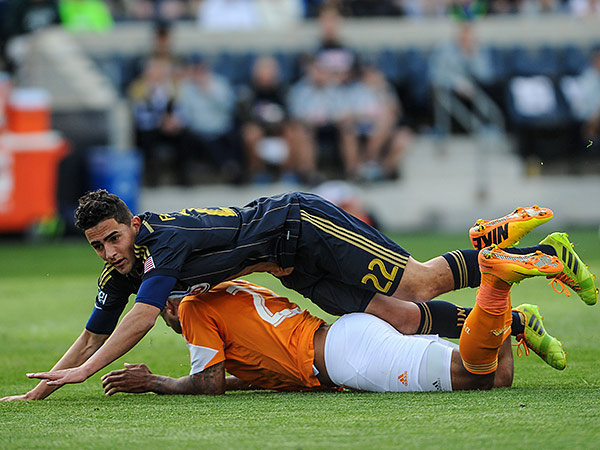 Union midfielder Leo Fernandes is picking up a bit of a reputation for being a diver. (John Geliebter/USA Today Sports)