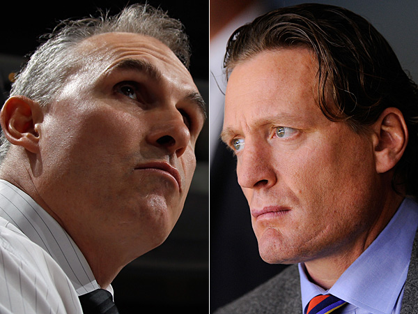 Flyers coach Craig Berube (left) and Former Flyer Jeremy Roenick (right). (Getty Images)