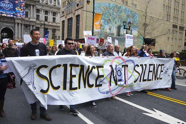 The March for Science in Philadelphia is one of more than 500 such marches around the country on Saturday. Here the parade kicks off from city hall.