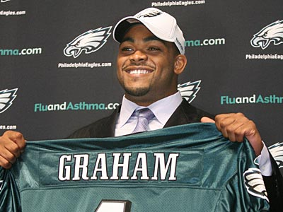 The Eagles selected defensive end Brandon Graham with the 13th pick in the first round of the NFL draft. (Charles Fox / Staff Photographer)