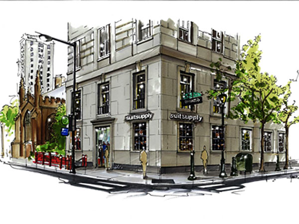 An artistic rendering of the new SuitSupply boutique in Rittenhouse Square.