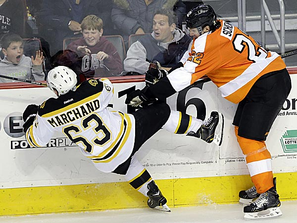 The Flyers´ Luke Schenn had eight hits, blocked four shots, collected an assist and was plus-3 in a win over the Bruins. (Matt Slocum/AP)
