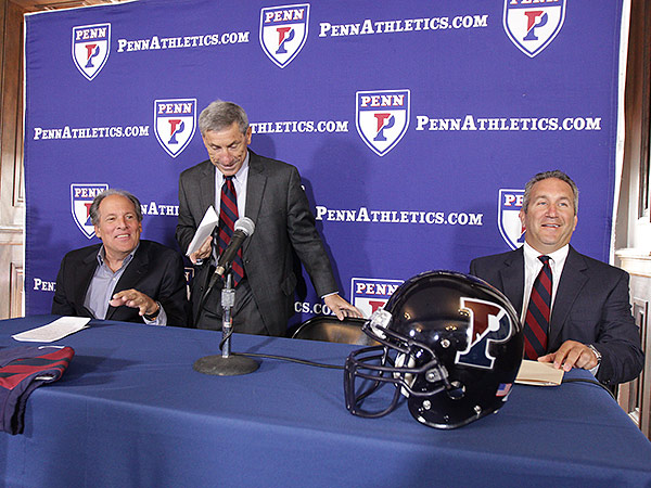Outgoing Penn football head coach Al Bagnoli (center) with athletic director Steve Bilsky (left) and new head coach Ray Priore (right).