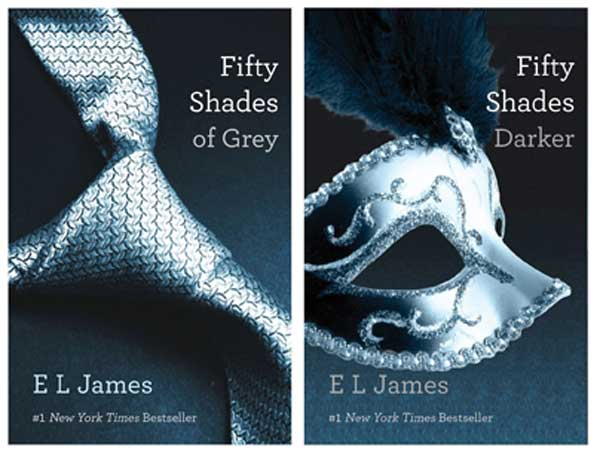 "This file combo made of book cover images provided by Vintage Books shows two books in the ""Fifty Shades of Grey"" trilogy by best-selling author E L James. Alexandria, Va., and Knoxville, Tenn., ranked No. 1 and No. 2 on Amazon.com´s annual list of U.S. cities buying the most books, newspapers and magazines per capita from the online retailer. E L James´ erotic ""Fifty Shades of Grey"" trilogy was a big hit in both places. (AP Photo/Vintage Books, File)"