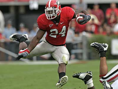 Georgia running back Knowshon Moreno is one of the players the Eagles could be targeting in this weekend´s NFL draft. (AP / File photo)