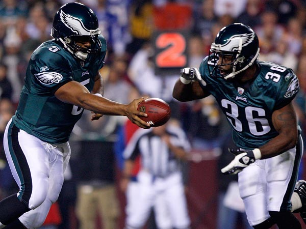 Donovan McNabb hands of to running back Brian Westbrook during the NFL football game against the Washington Redskins, Monday, Oct. 26, 2009 in Landover, Md. (Pablo Martinez Monsivais/AP file)