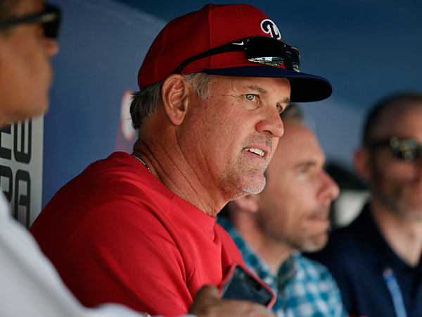Ryne Sandberg talks to reporters before the Phillies´ baseball game against the Los Angeles Dodgers on Wednesday, April 23, 2014, in Los Angeles. (Jae C. Hong/AP)