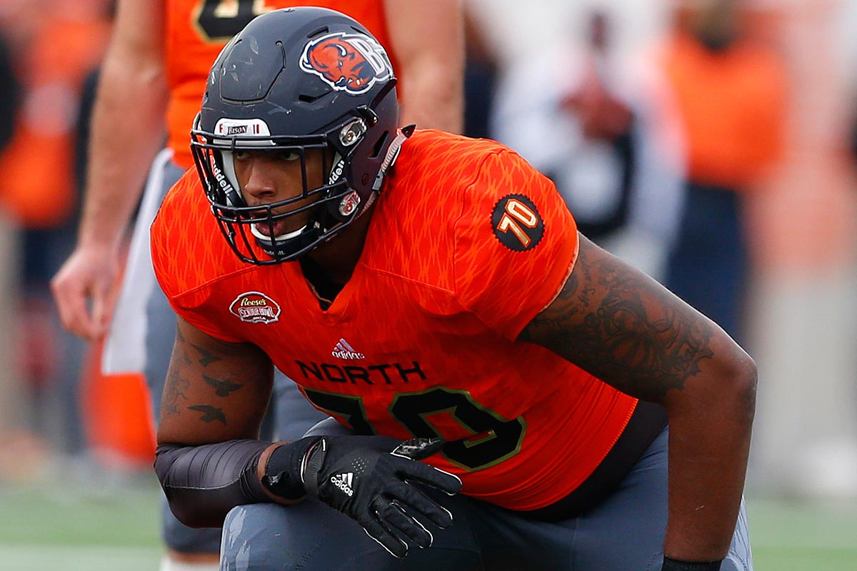 North squad offensive tackle Julien Davenport of Bucknell (70) lines up for a play during the second half of the Senior Bowl NCAA college football game, Saturday, Jan. 28, 2017, at Ladd-Peebles Stadium in Mobile, Ala.
