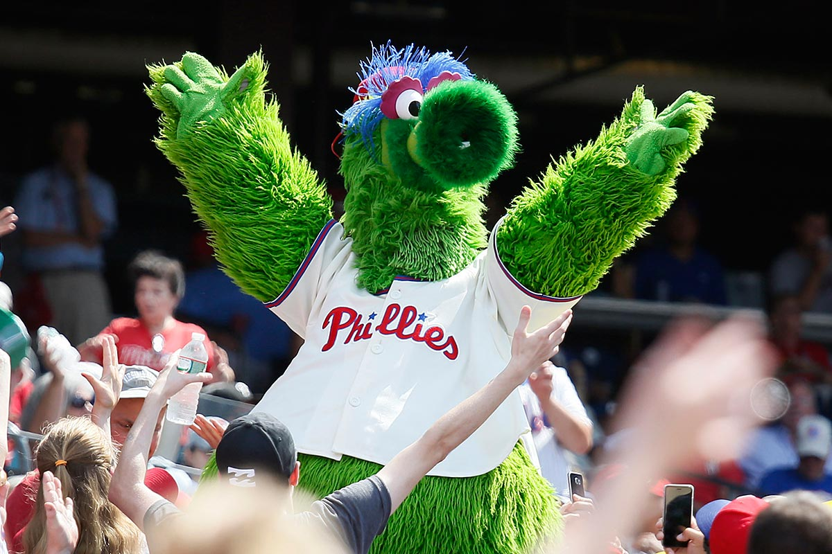 The Phillie Phanatic dances to YMCA with the fans.