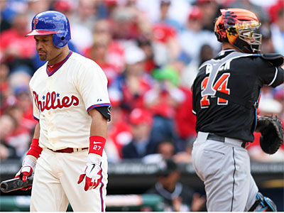 Phillies third baseman Placido Polanco has a .237 on-base percentage. (AP Photo / Suchat Pederson)