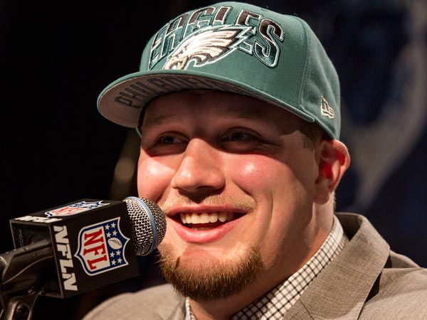Lane Johnson speaks during a news conference after being selected fourth overall by the Philadelphia Eagles during the first round of the NFL football draft, Thursday, April 25, 2013, at Radio City Music Hall in New York. (Craig Ruttle/AP)