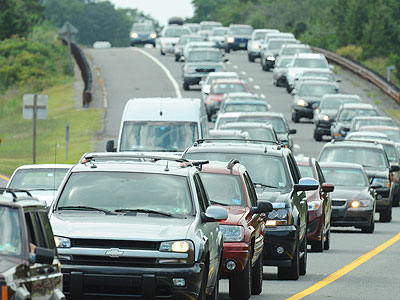 A scene from The Garden State Parkway as vacationers left the New Jersey shore ahead of Hurricane Irene last August. (File Photo: Clem Murray / Staff Photographer)