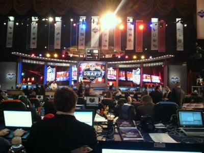 The scene is set in New York for Round 1 of the NFL Draft. (Jonathan Tamari/Staff)