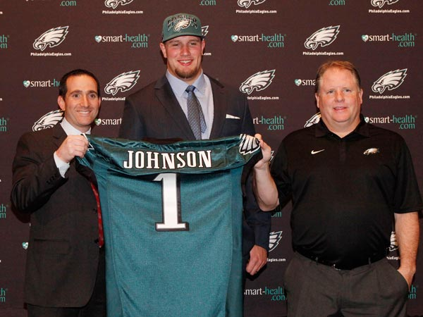 Eagles general manager Howie Roseman (left) and coach Chip Kelly<br />(right) introduce number one draft pick Lane Johnson at a press conference. (Michael S. Wirtz/Staff Photographer)