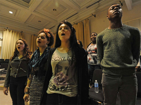 File photo: High School for Creative and Performing Arts students (from left) Sarah Kravinsky, Nayo Jones, Patricia Pezzano, and Cameron Williams. (April Saul / Staff Photographer)