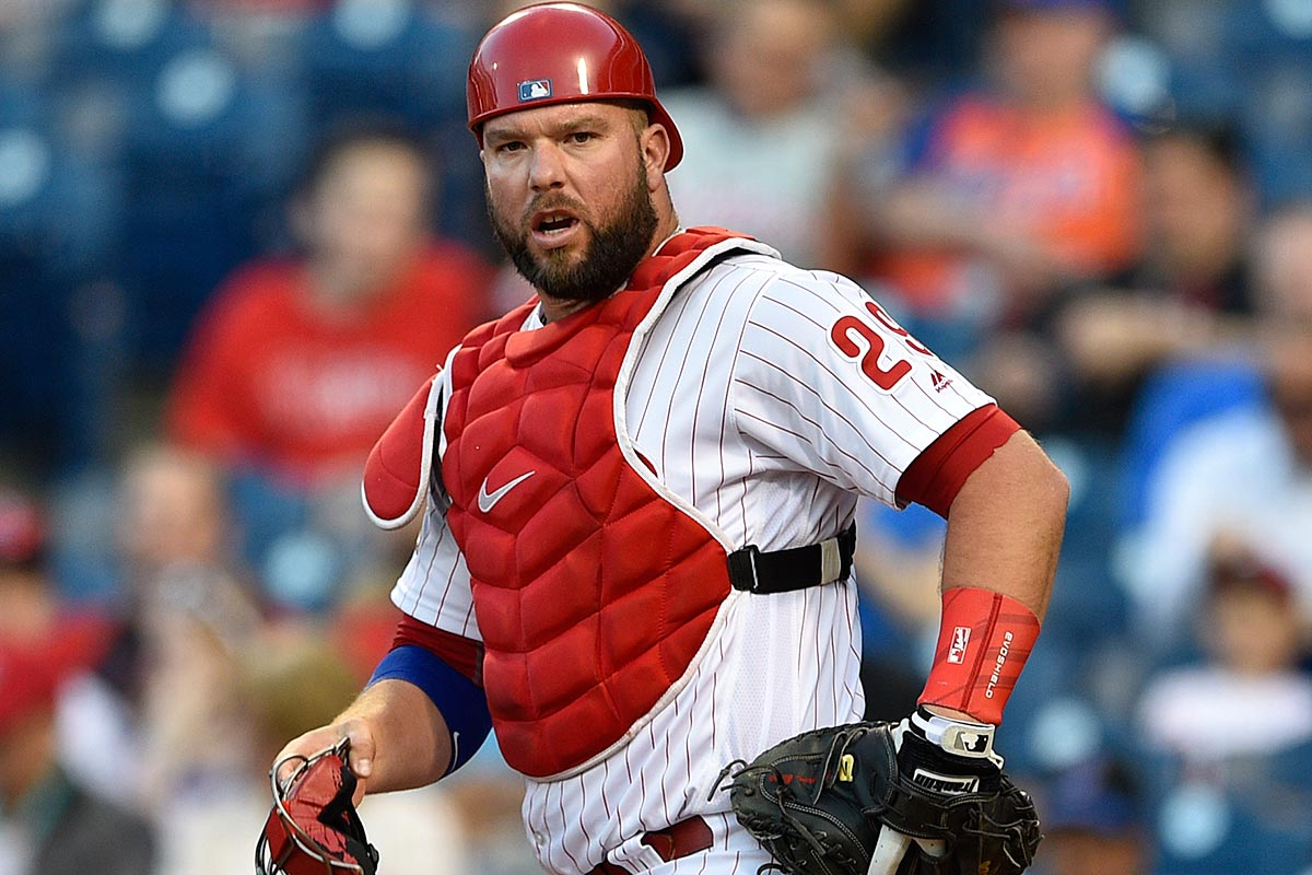 Philadelphia Phillies catcher Cameron Rupp in action during a baseball game against the New York Mets, Wednesday, April 12, 2017, in Philadelphia.