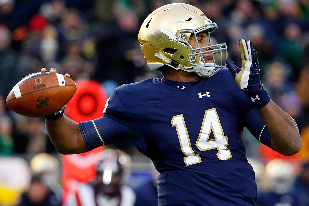 Notre Dame quarterback DeShone Kizer looks to pass against Virginia Tech during the first half of an NCAA college football game in South Bend, Ind., Saturday, Nov. 19, 2016.