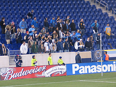 A small but hearty group of Sons of Ben made their voices heard Tuesday night at Red Bull Arena. (Matt Mullin/Philly.com)