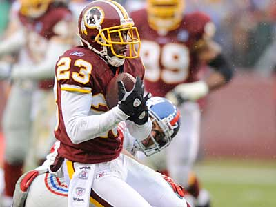 DeAngelo Hall thinks the Redskins will dominate the division in 2010. (AP photo / Nick Wass)