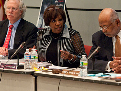 Superintendent Arlene C. Ackerman (center) with member Joseph Dworetzky (left) and Chair Robert L. Archie Jr. at the school commission meeting last month. (File photo: Ron Tarver / Staff Photographer)