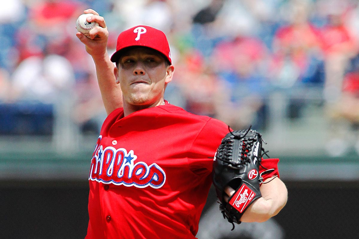 Philadelphia Phillies´ Jeremy Hellickson throws during the first inning of a baseball game against the Miami Marlins, Thursday, April 27, 2017, in Philadelphia.