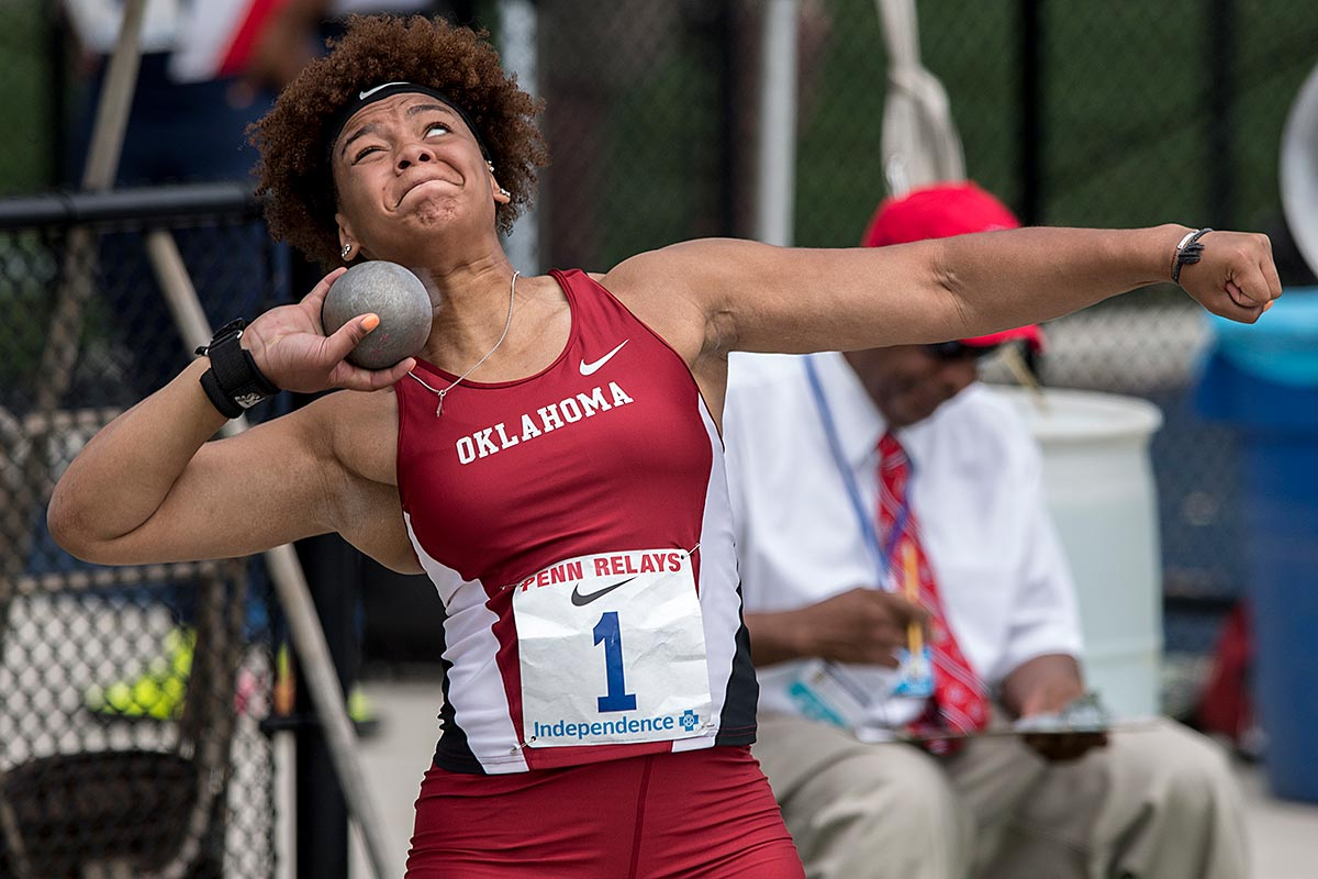 University of Oklahoma shotputter Jessica Woodard competing at the 123rd Penn Relays.