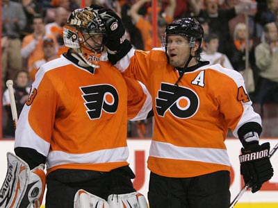 Brian Boucher, Kimmo Timonen and the Flyers await their next opponent in the playoffs. (Yong Kim / Staff Photographer)